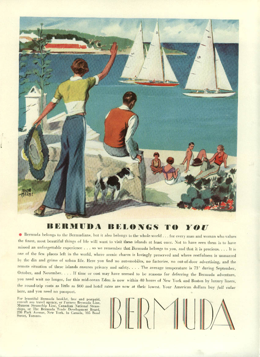 Bermuda belongs to You Tourism ad 1934 Adolph Treidler sailboats