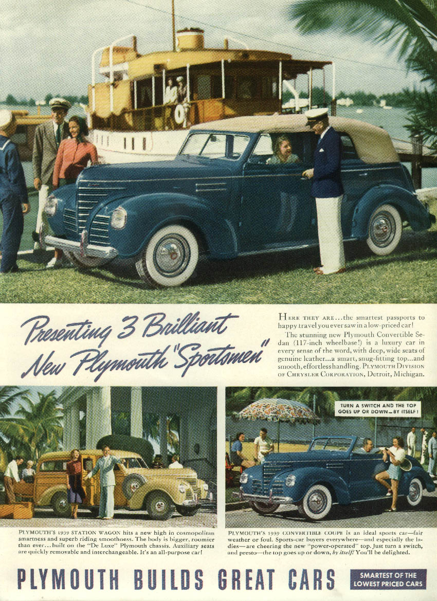 Brilliant New Sportsmen Plymouth Convertible Sedan Wagon & Coupe ad 1939 NY