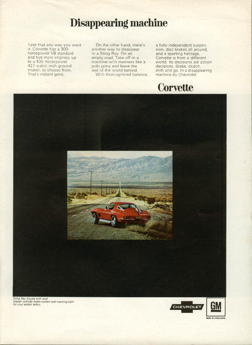 Disappearing machine . . . Corvette Sting Ray Coupe ad 1967 NY
