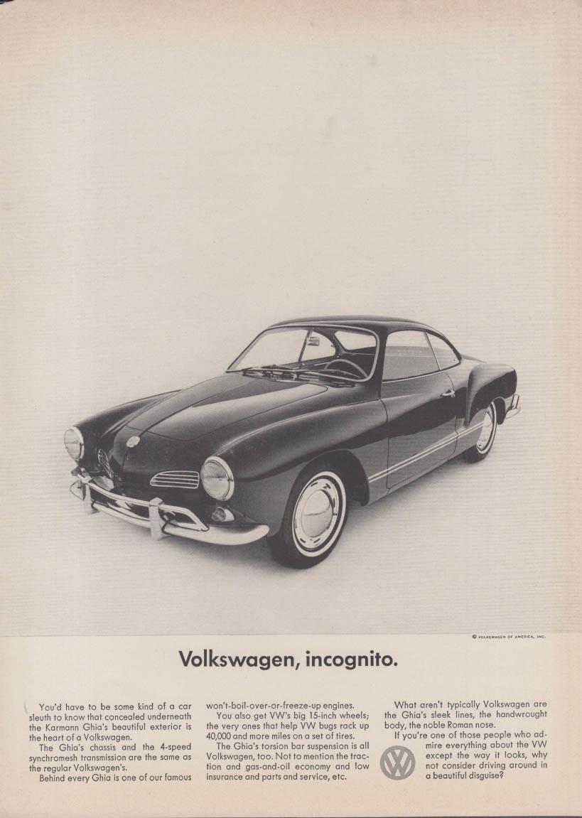 Volkswagen, incognito. Volkswagen Karmann Ghia ad 1965 NY