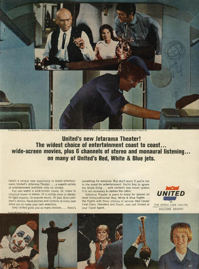 United Air Lines Jetarama Theater! Ad 1965 stewardesses NY
