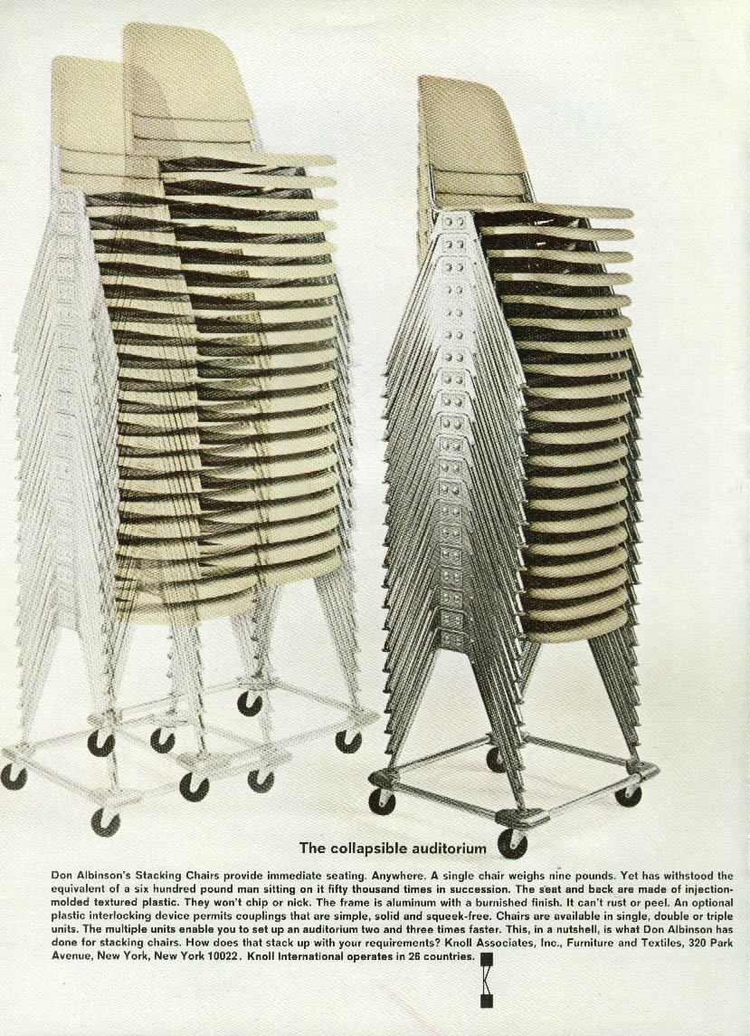 The collapsible auditorium Don Albinson Stacking Chair Knoll Int'l ad 1967