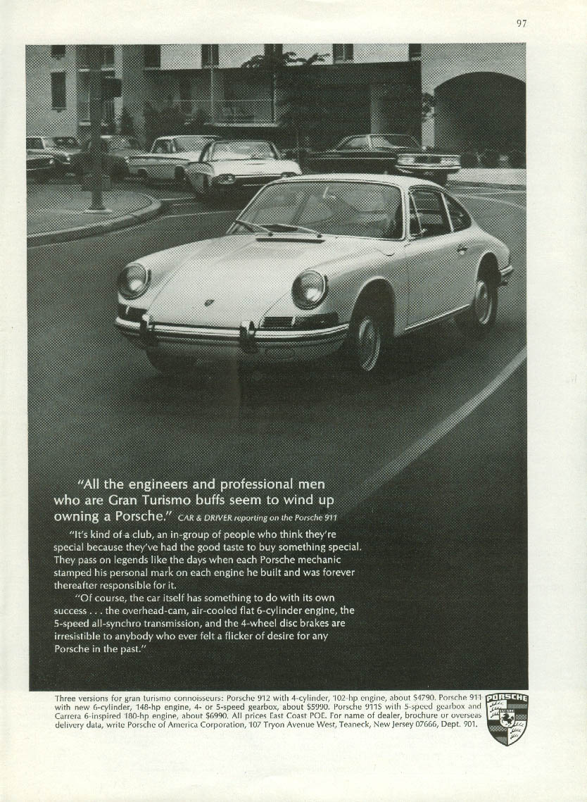 All the engineers & professional men end up owning Porsche 911 ad 1967 NY