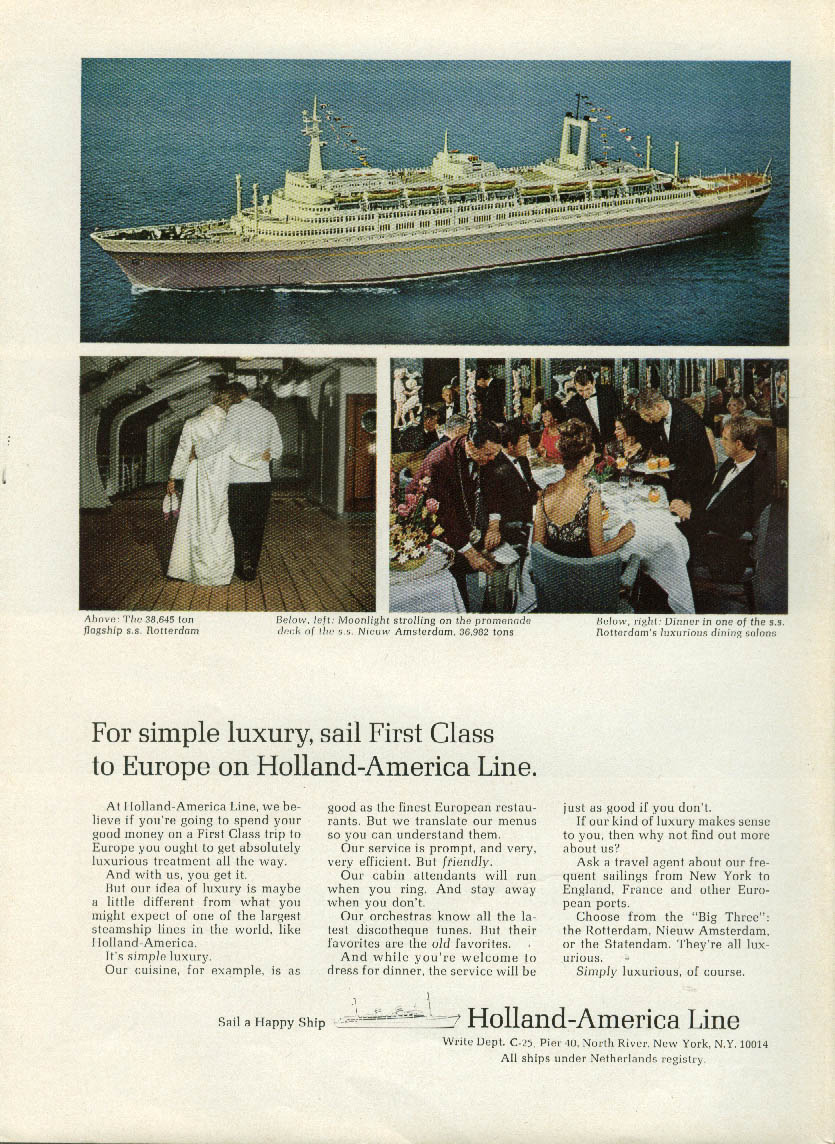 For simple luxury sail Holland-America Line S S Rotterdam ad 1966
