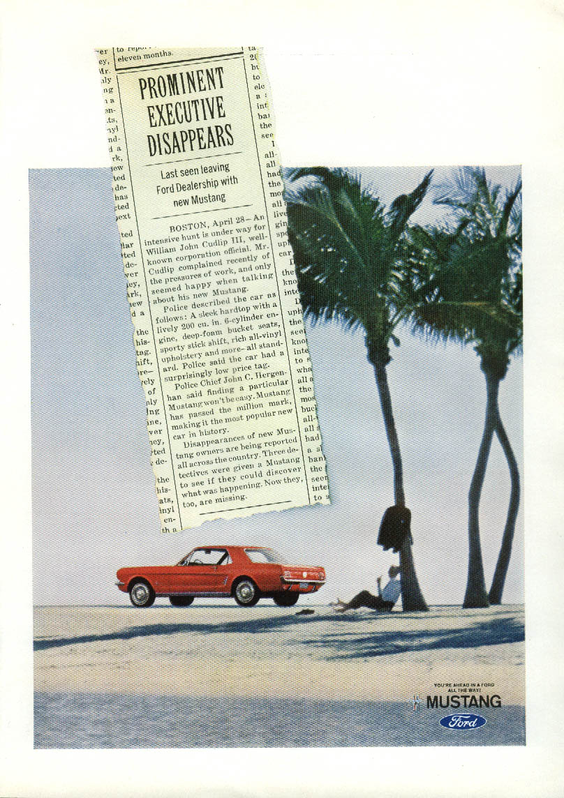 Prominent Executive Disappears in a new Mustang ad 1966 NY