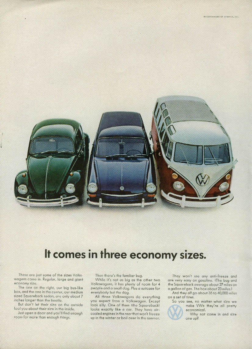 It comes in three economy sizes Volkswagen Beetle Squareback & Bus ad 1967 NY