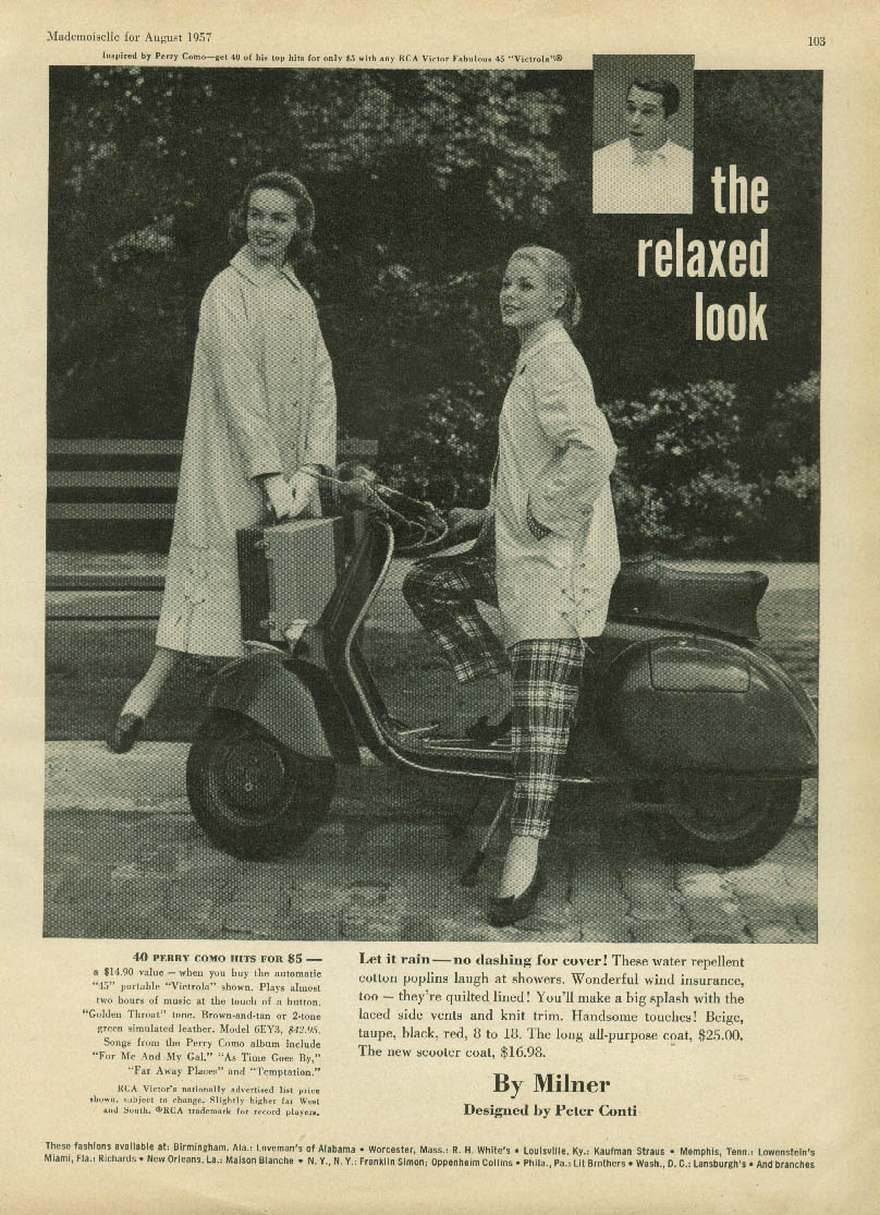 Image for Perry Como Relaxed Look Milner Raincoats ad 1957 Vespa motorscooter