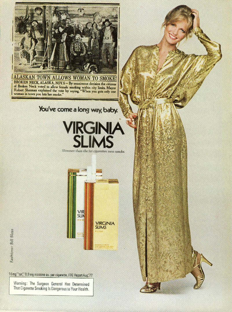 Alaskan Town Allows Woman to Smoke Cheryl Tiegs Virginia Slims ad 1978 WD