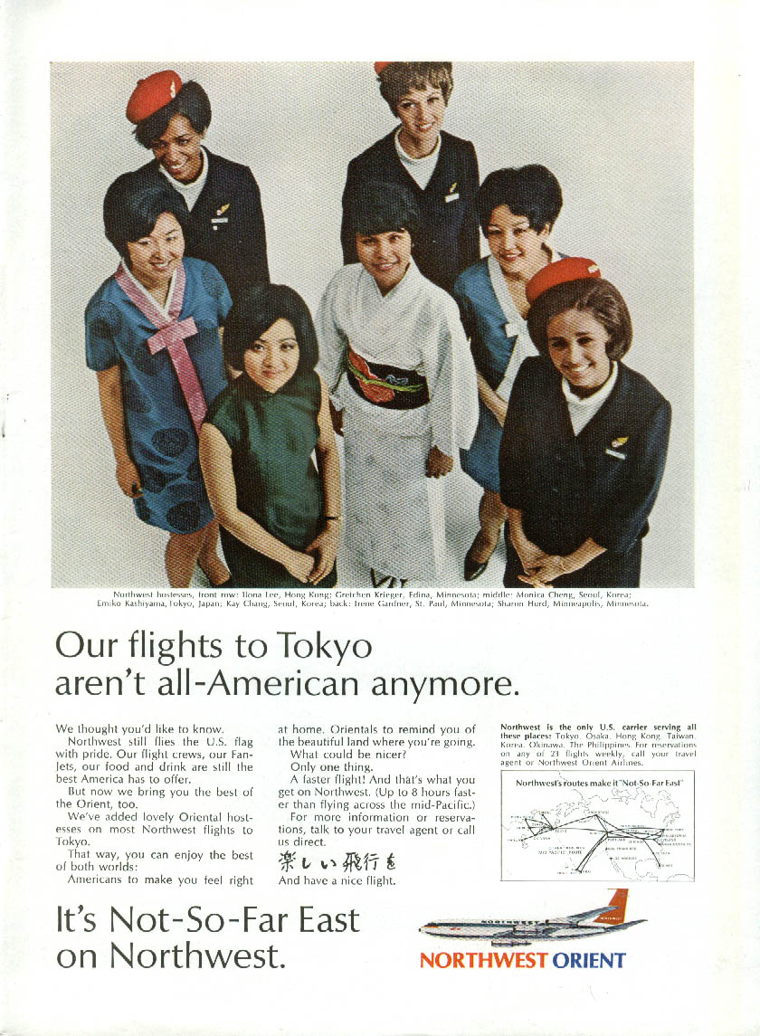 Flights to Tokyo aren't All-American anymore Northwest Orient Airlines ad 1969