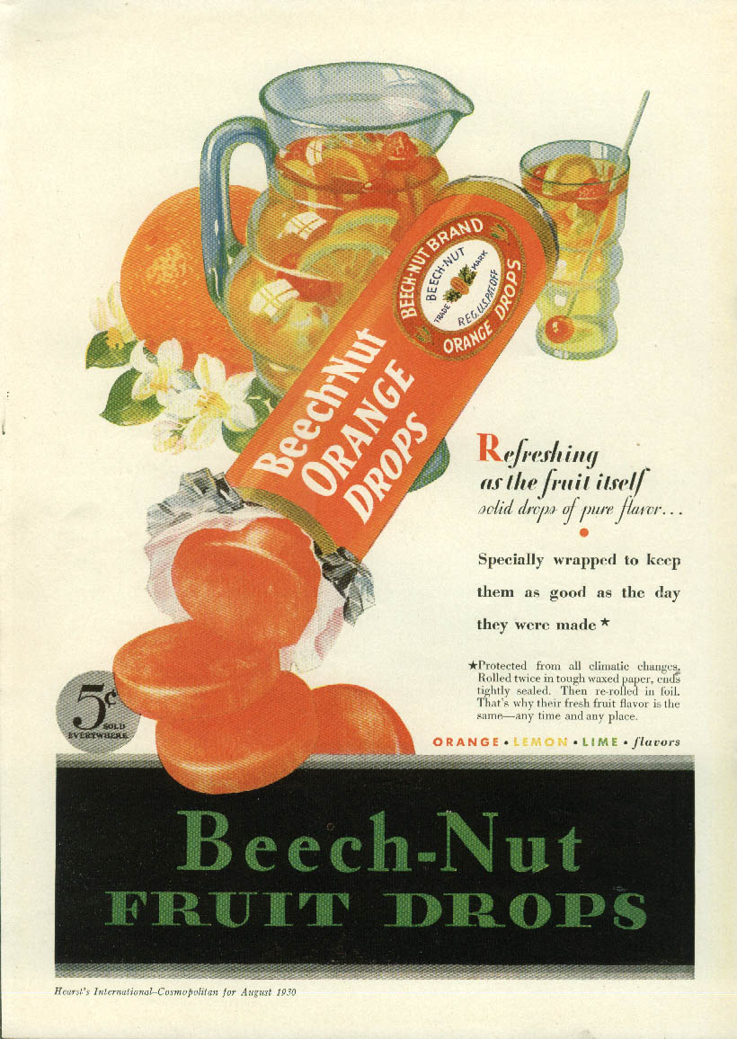 Image for Refreshing as the fruit itself Beech-Nut Orange Drops candy ad 1930