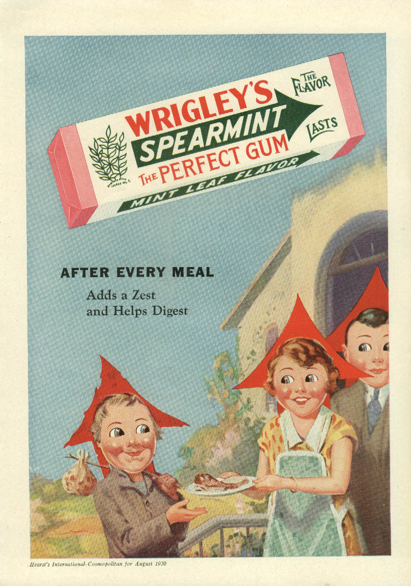 After Every Meal Wrigley's Speramint Chewing Gum ad 1930 Arrow family