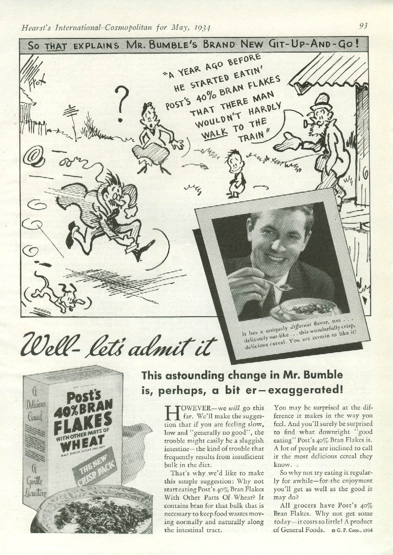Fontaine Fox Toonerville Mr Bumble for Post 40% Bran Flakes Cereal ad 1934