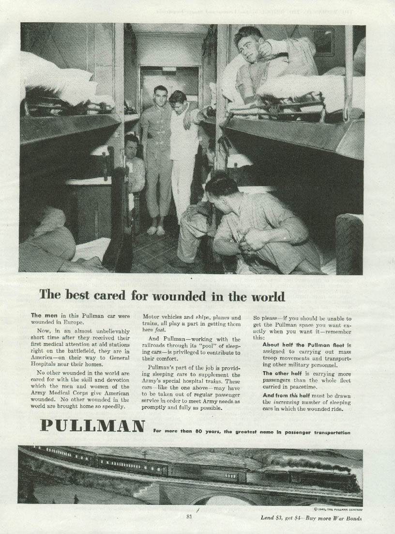 Image for The best cared for wounded in the world Pullman Railroad Cars ad 1945