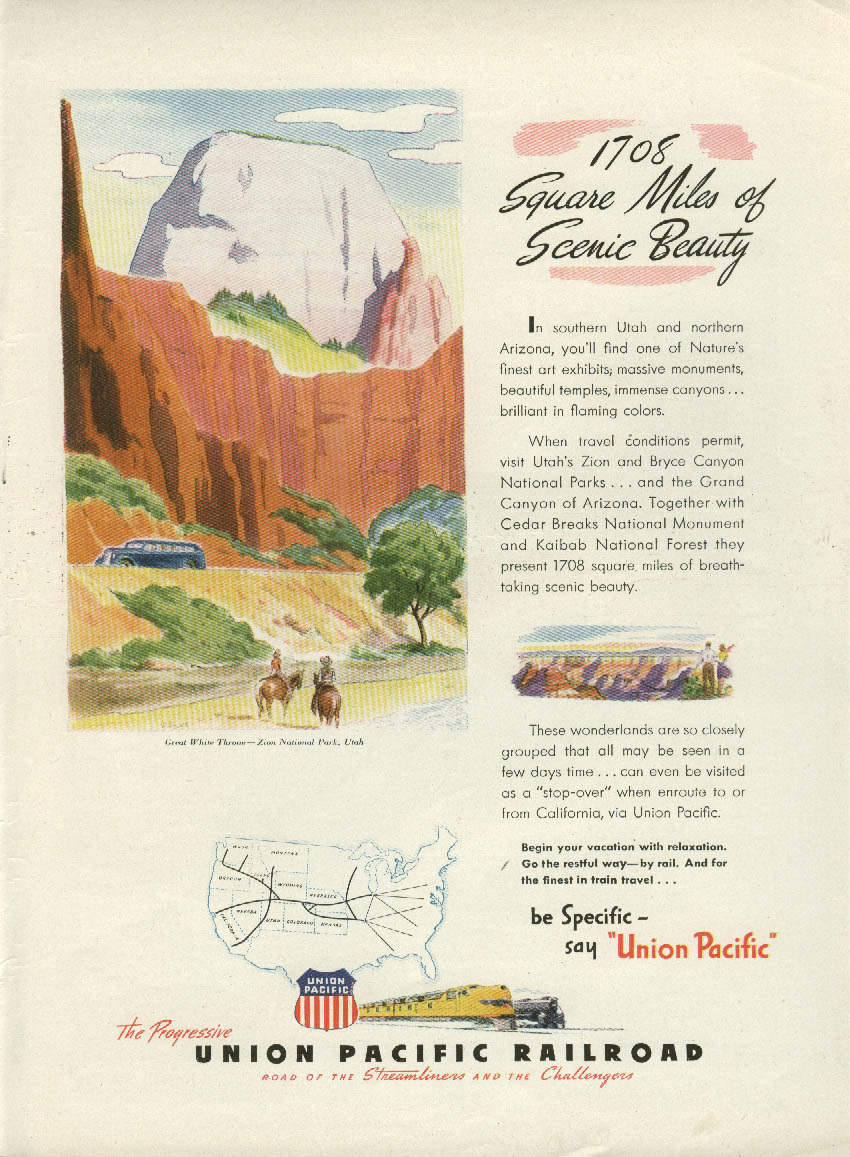 1708 Square Miles of Scenic Beauty - Union Pacific Railroad ad 1946 NY