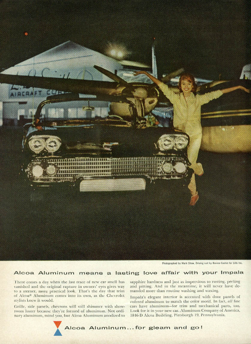 Alcoa Aluminum means a lasting love affair Chevrolet Impala Convertible ad 1958