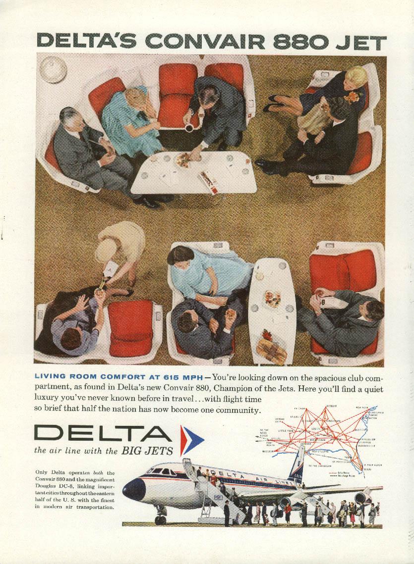 living room comfort at 615mph delta air lines convair 880 jet ad 1960