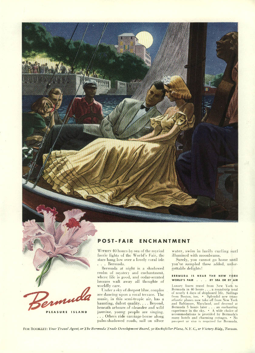 Post-Fair Enchantment Bermuda Tourism ad 1939 New York World's Fair mention