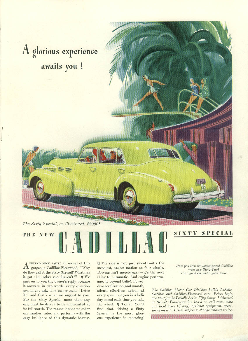 Cadillac Sixty Special / Plymouth Convertible Station Wagon Coupe ad 1940
