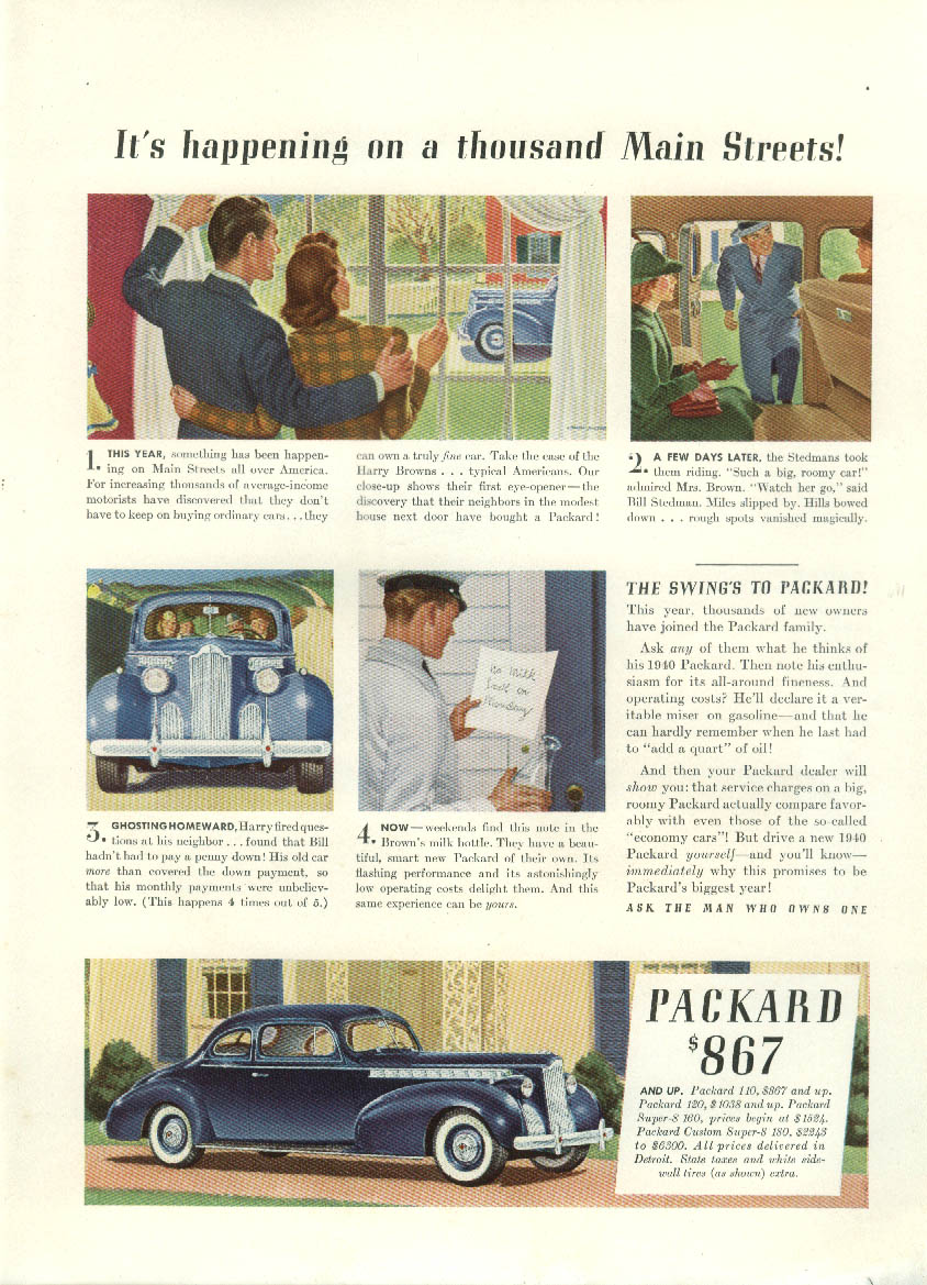 It's happening on a thousand Main Streets Packard One-Ten Coupe ad 1940 NY