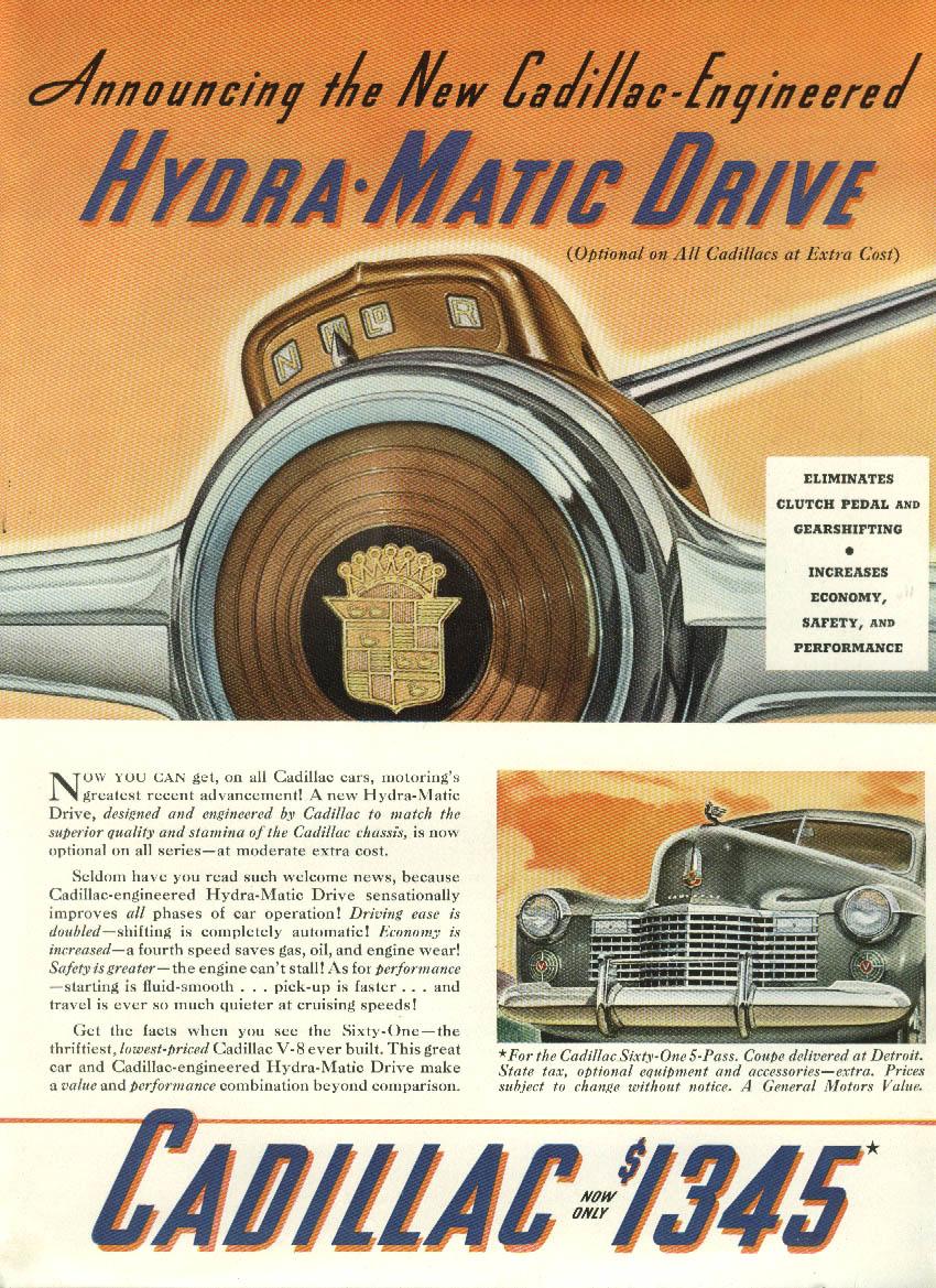 Announcing the New Cadillac-Engineered Hydra-Matic Drive Cadillac ad 1941 NY