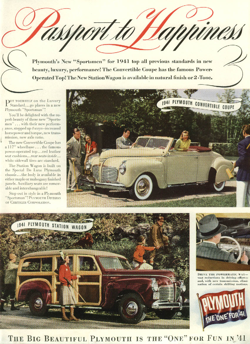 1941 Plymouth Convertible & Wagon / Atlantic Coast Line RR Champion ad 1940