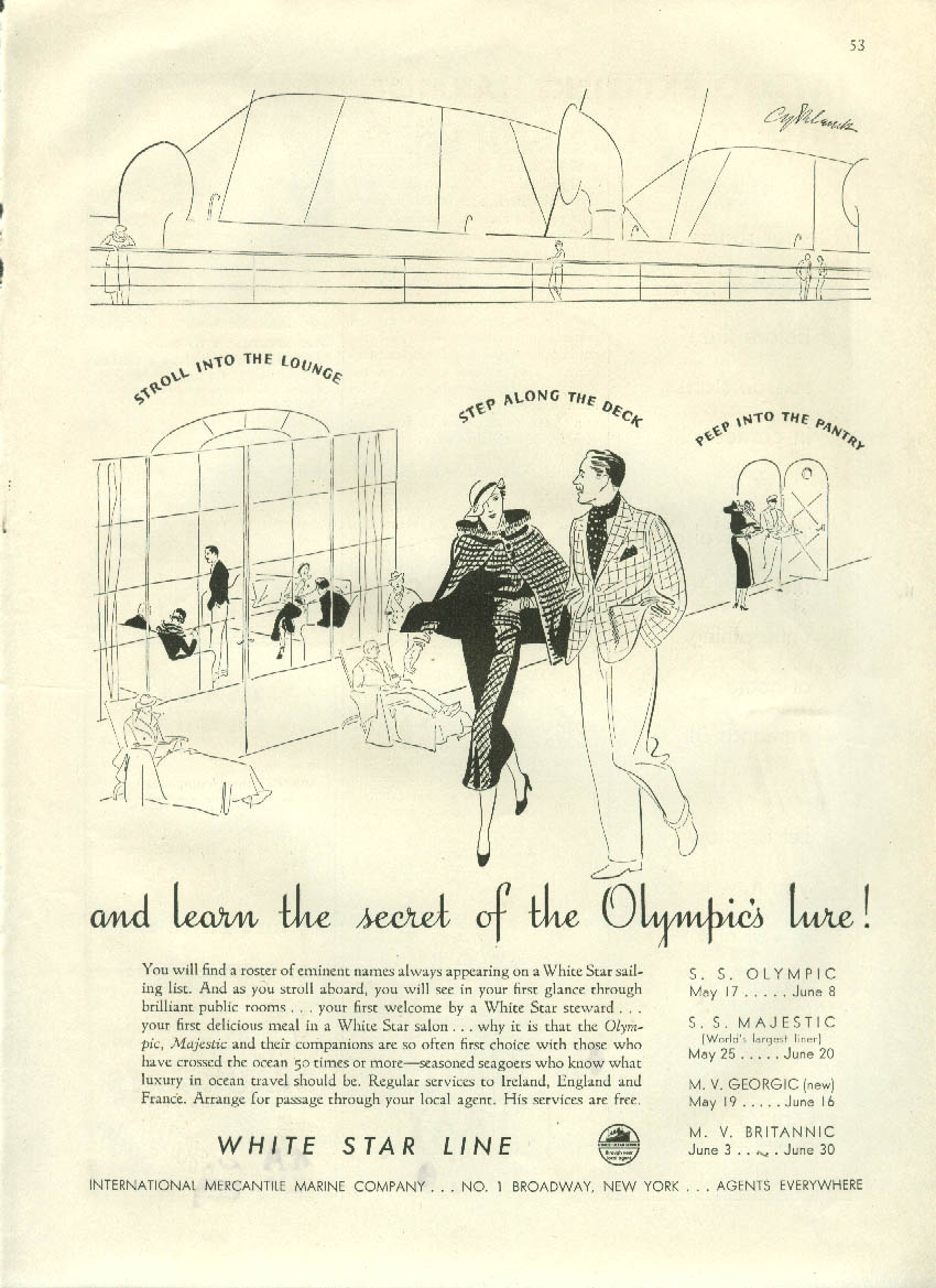 Learn the secret of White Star Line S S Olympic lure! Ad 1934 NY