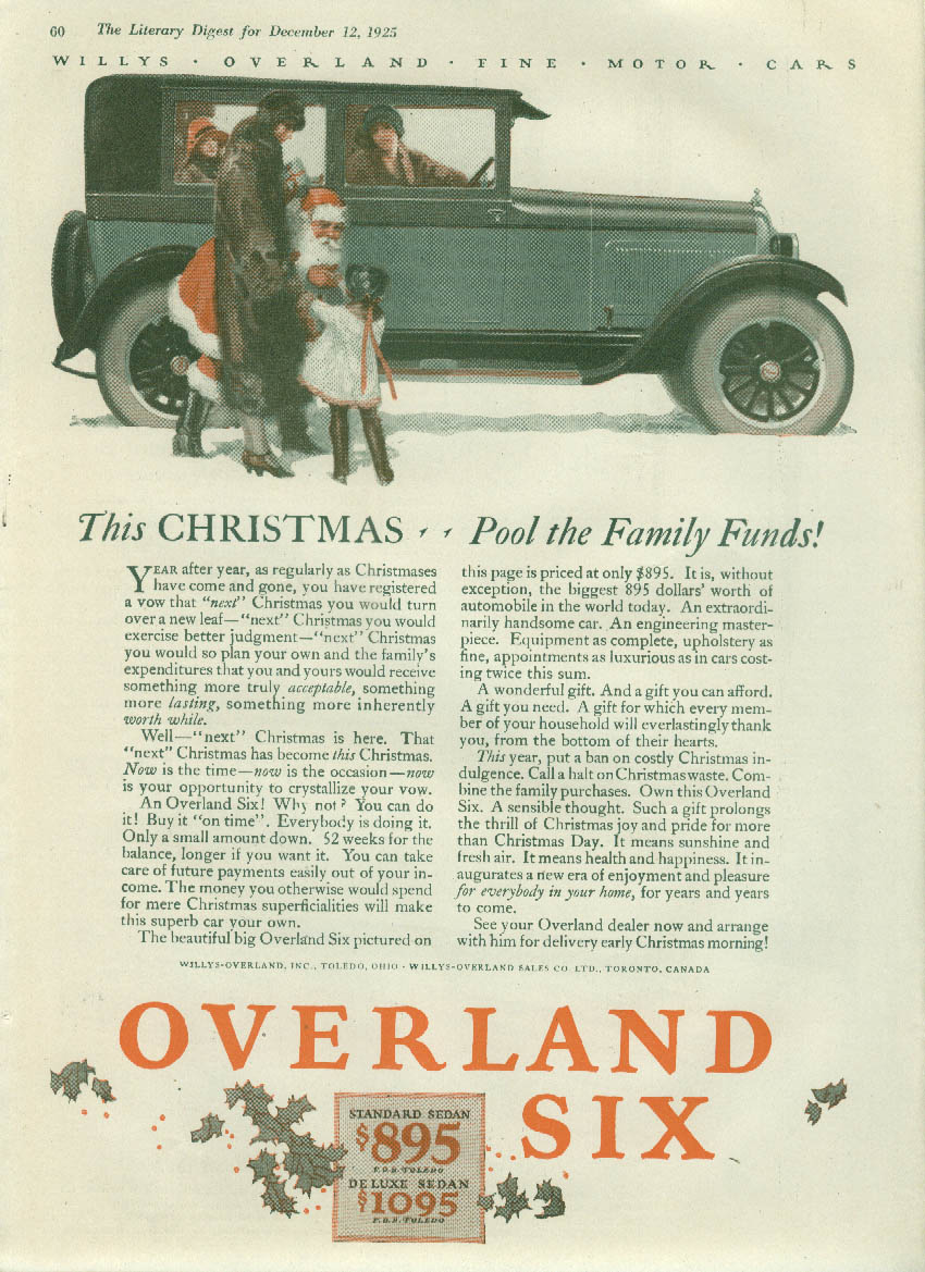 Image for This Christmas - Pool the Family Funds Overland Six ad 1926 Santa Claus LD