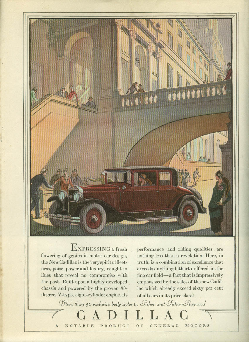 Expressing a fresh flowering of genius Cadillac Club Coupe ad 1928 LD