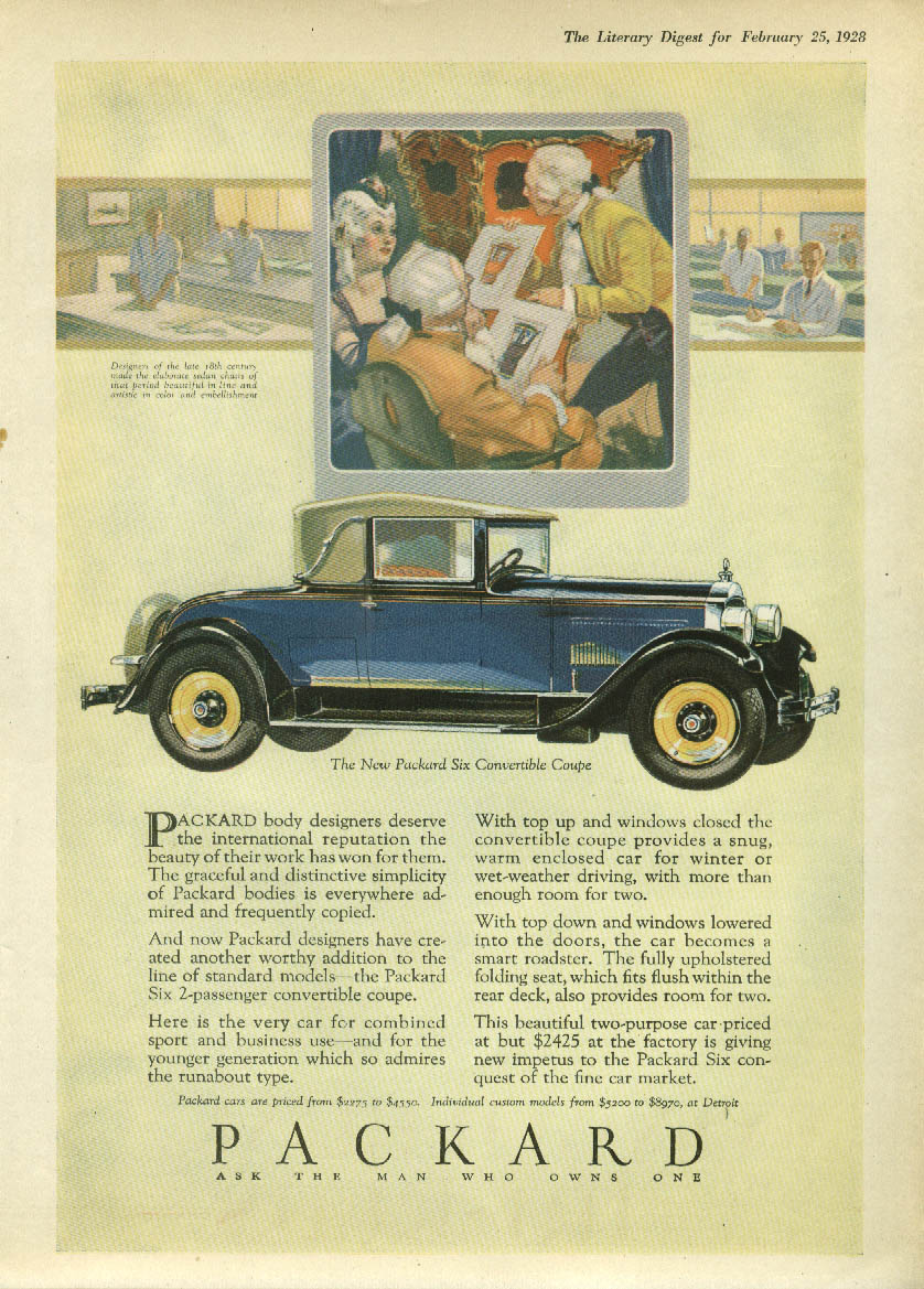 Packard body designers deserve the reputation Six Convertible Coupe ad 1928 LD