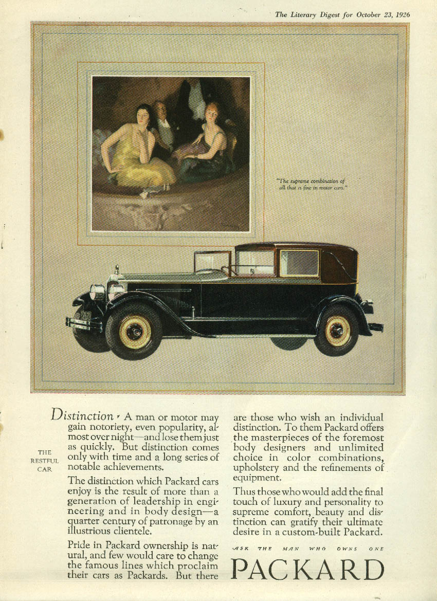 Distinction - a man or motor may gain notoriety Packard Town Car ad 1926 LD