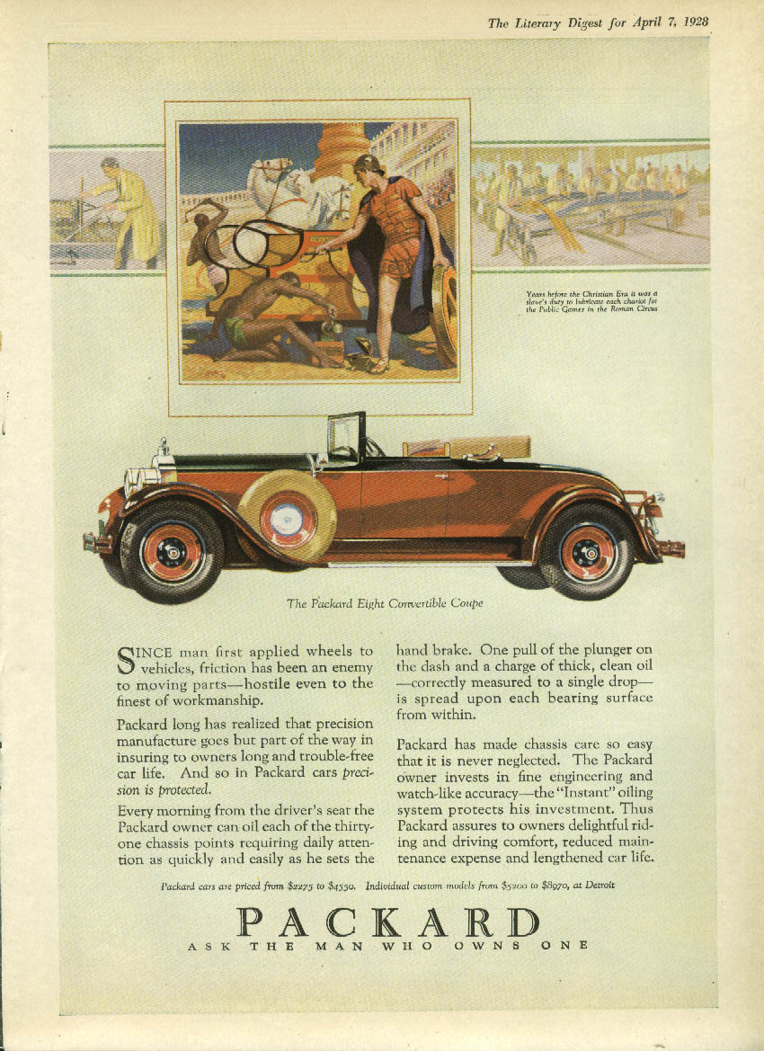 Since man first applied wheels Packard 8 Convertible Coupe ad 1928 LD