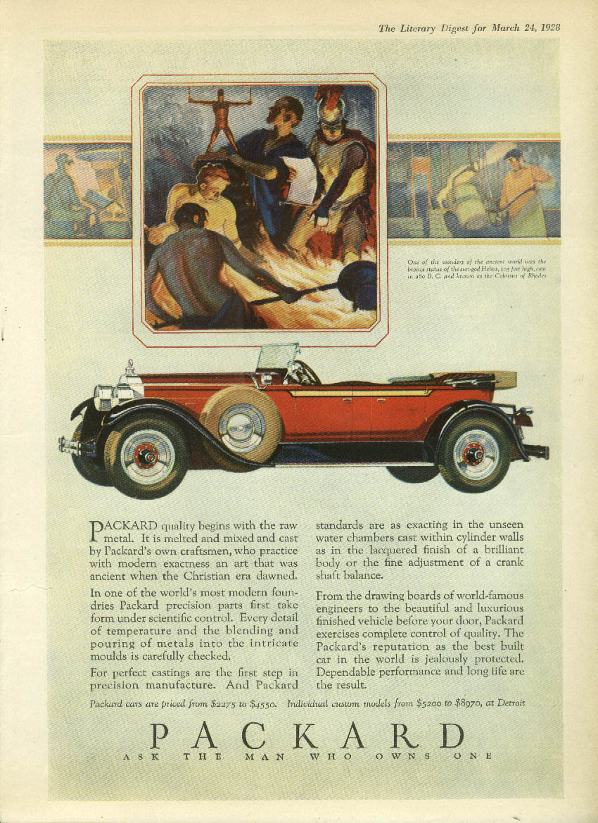 Quality begins with the raw metal Packard Phaeton Touring ad 1928 LD