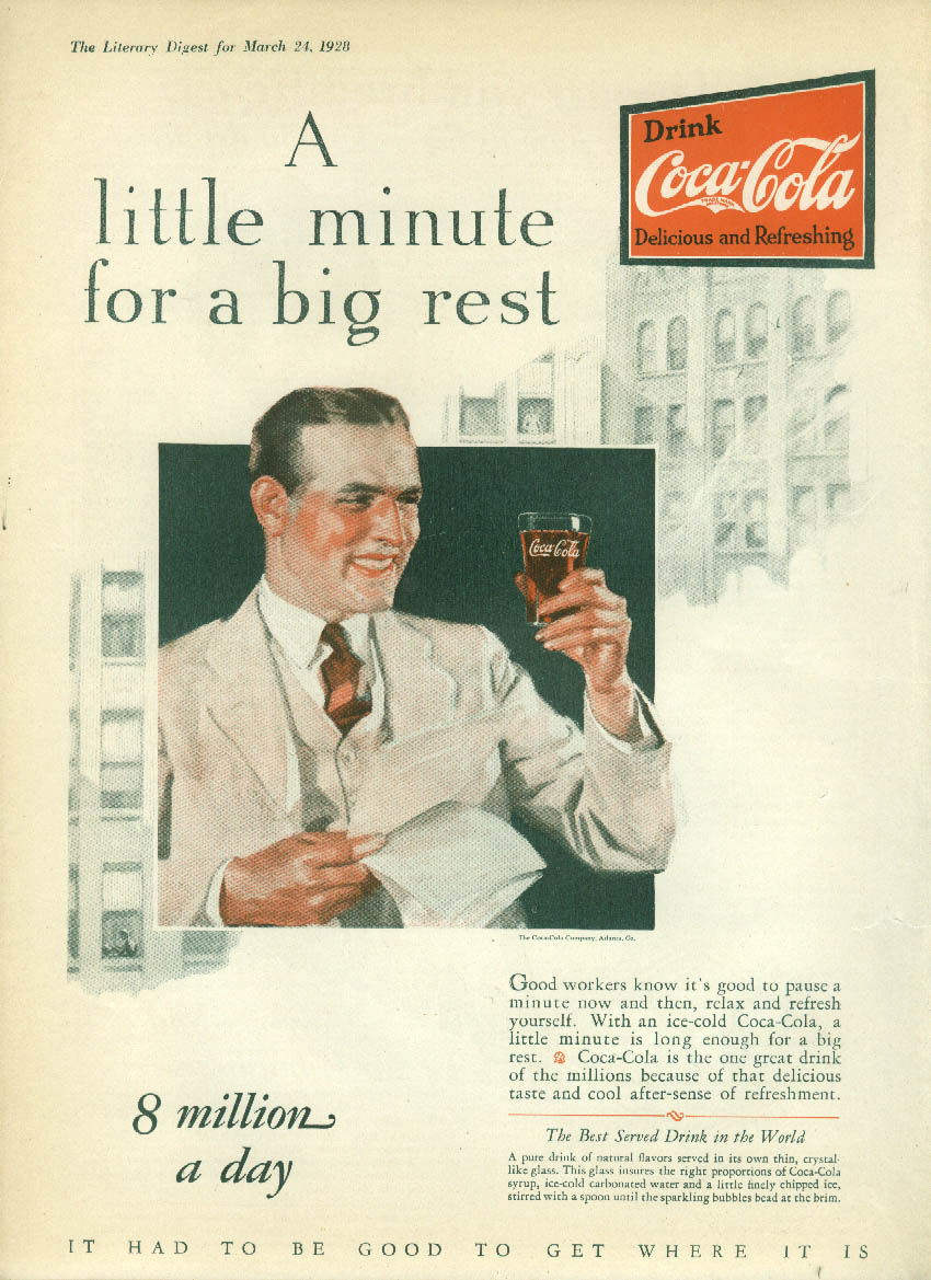 A little minute for a big rest Coca-Cola ad 1928 LD