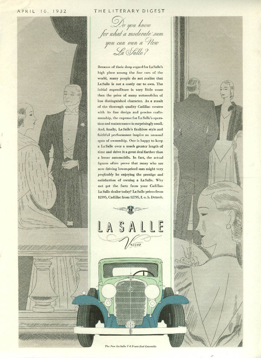 Do you know for what moderate sum can you own a new La Salle V-8? Ad 1932 LD