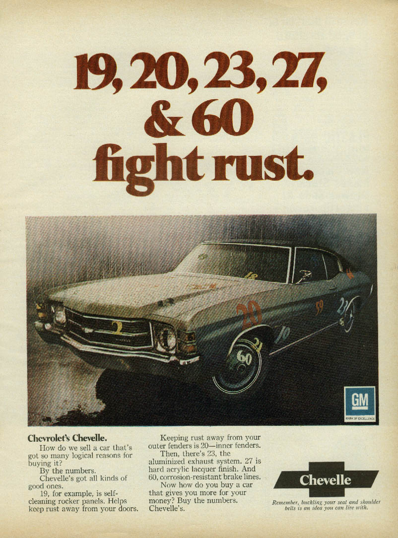 19, 20, 23, 27, & 60 fight rust Chevrolet Chevelle ad 1971