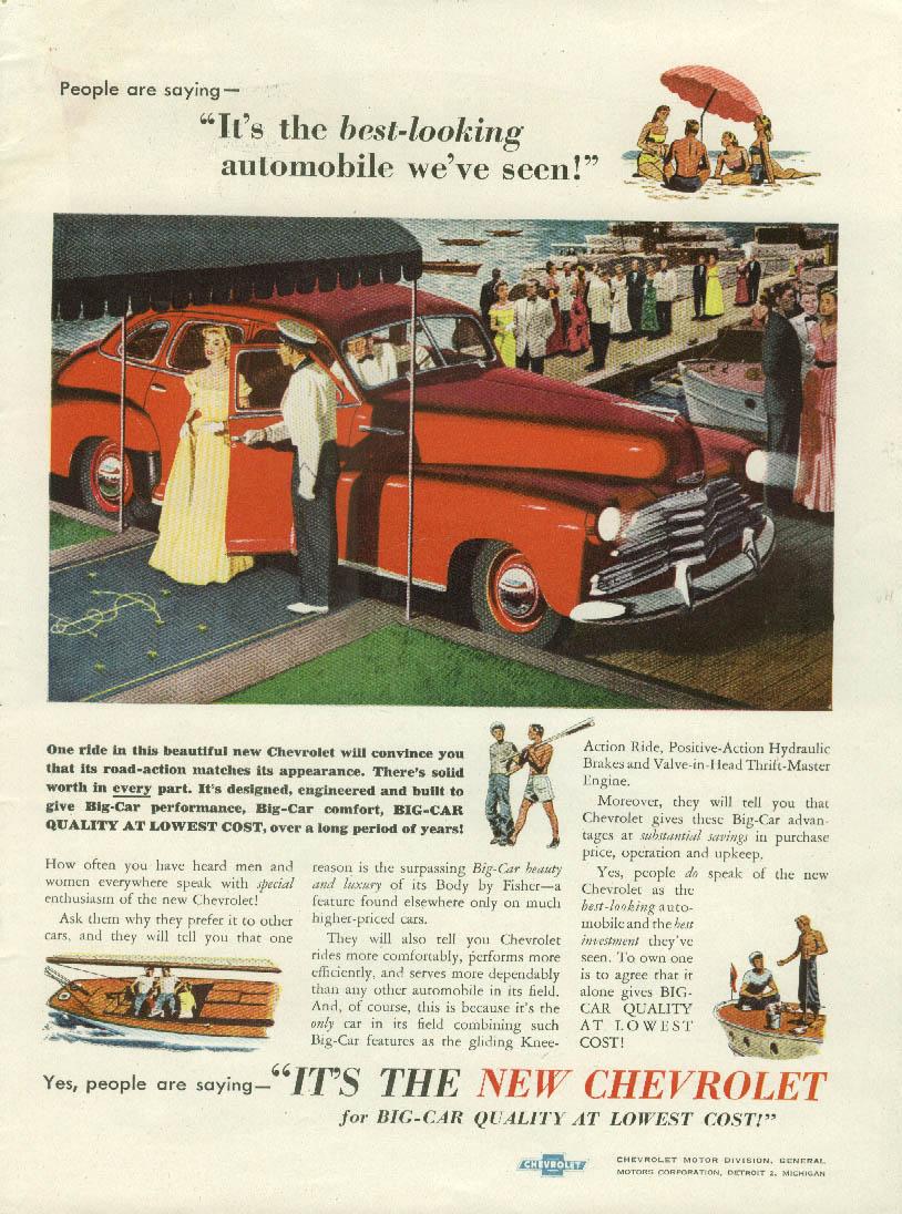 Best-looking automobile we've seen Chevrolet Sedan ad 1947 T