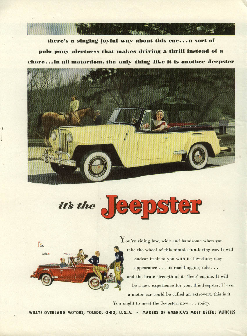 A singing joyful way about this Jeepster ad 1948 NY