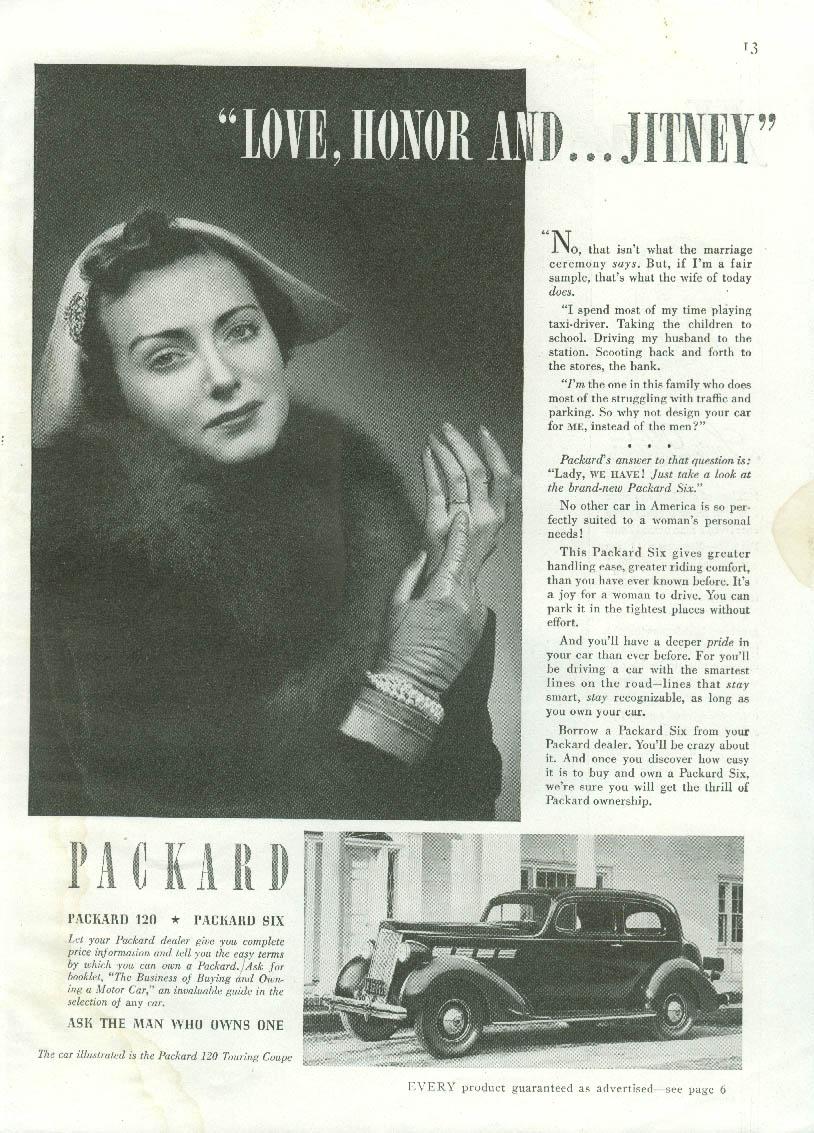 Love Honor and Jitney Packard Sic Coach ad 1937 GH