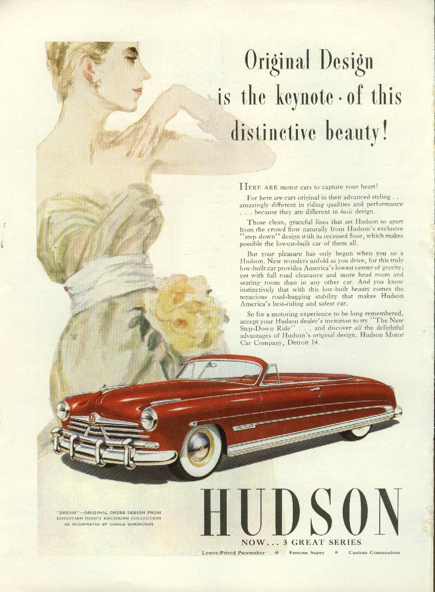 Image for Original Design is the keynote Hudson Commodore Convertible ad 1950 NY