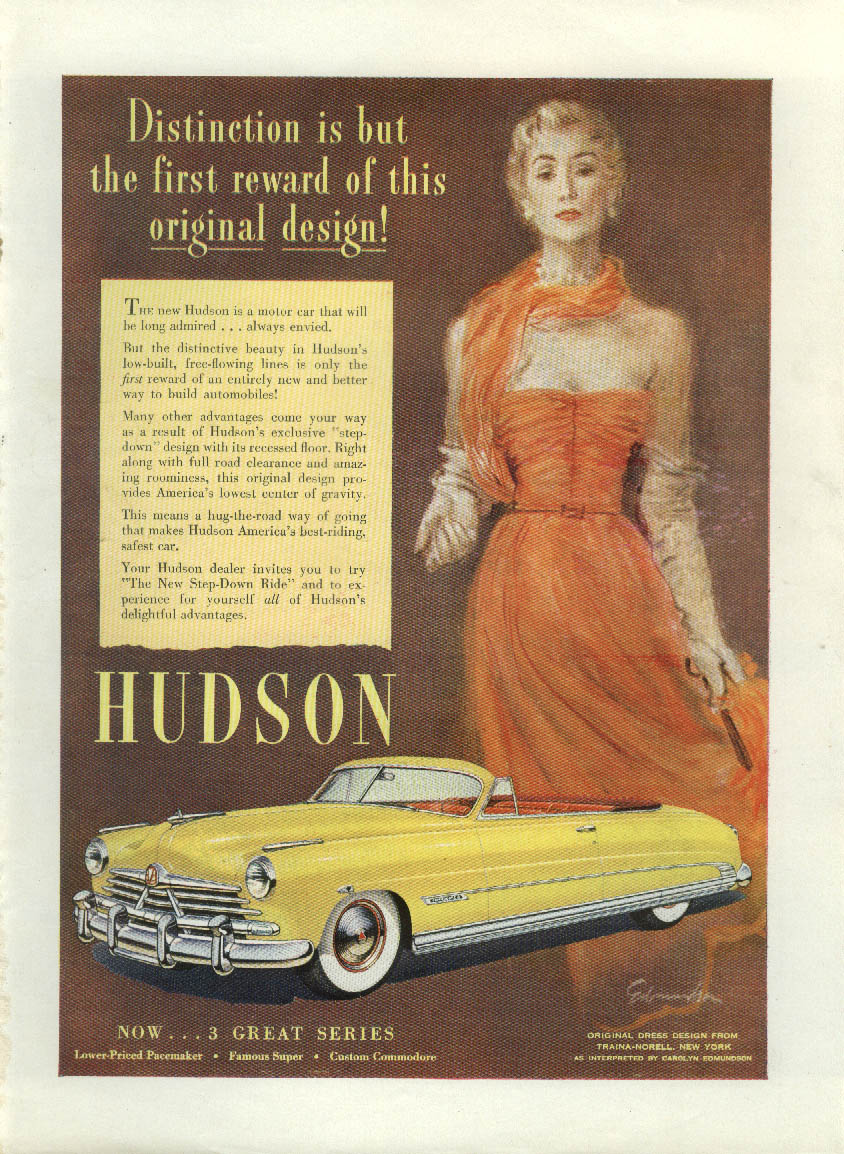 Distinction is but the first reward Hudson Commodore Convertible ad 1950 NY