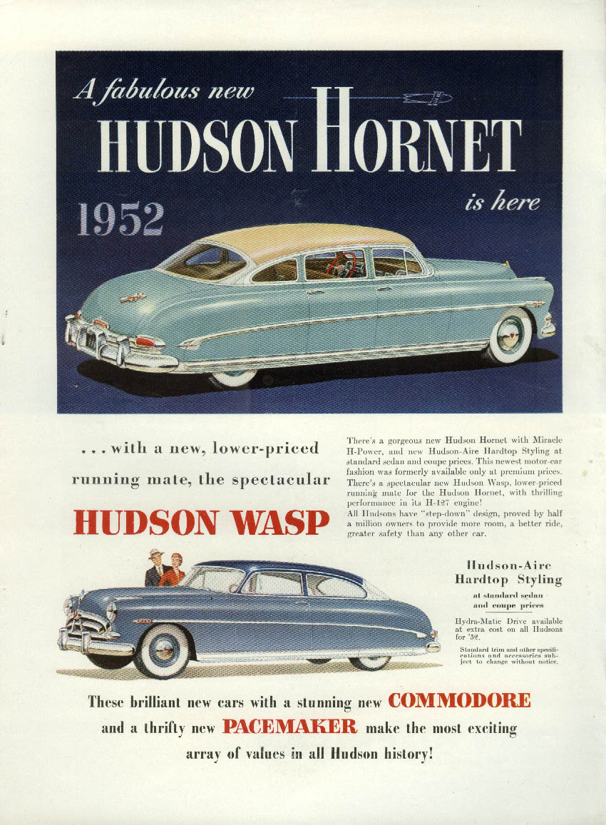 A fabulous new Hudson Hornet is here Hudson Wasp ad 1952 NY
