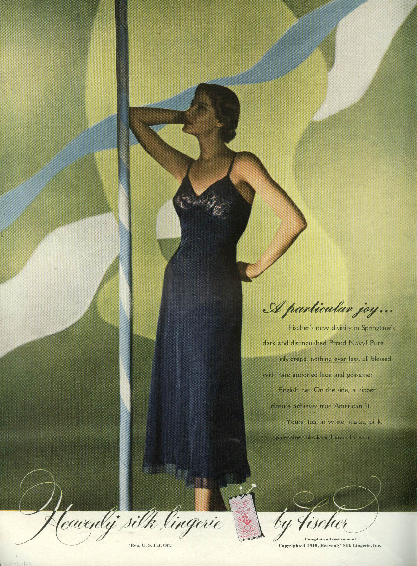 A particular joy Fischer Heavenly Silk Slip ad 1949 NY