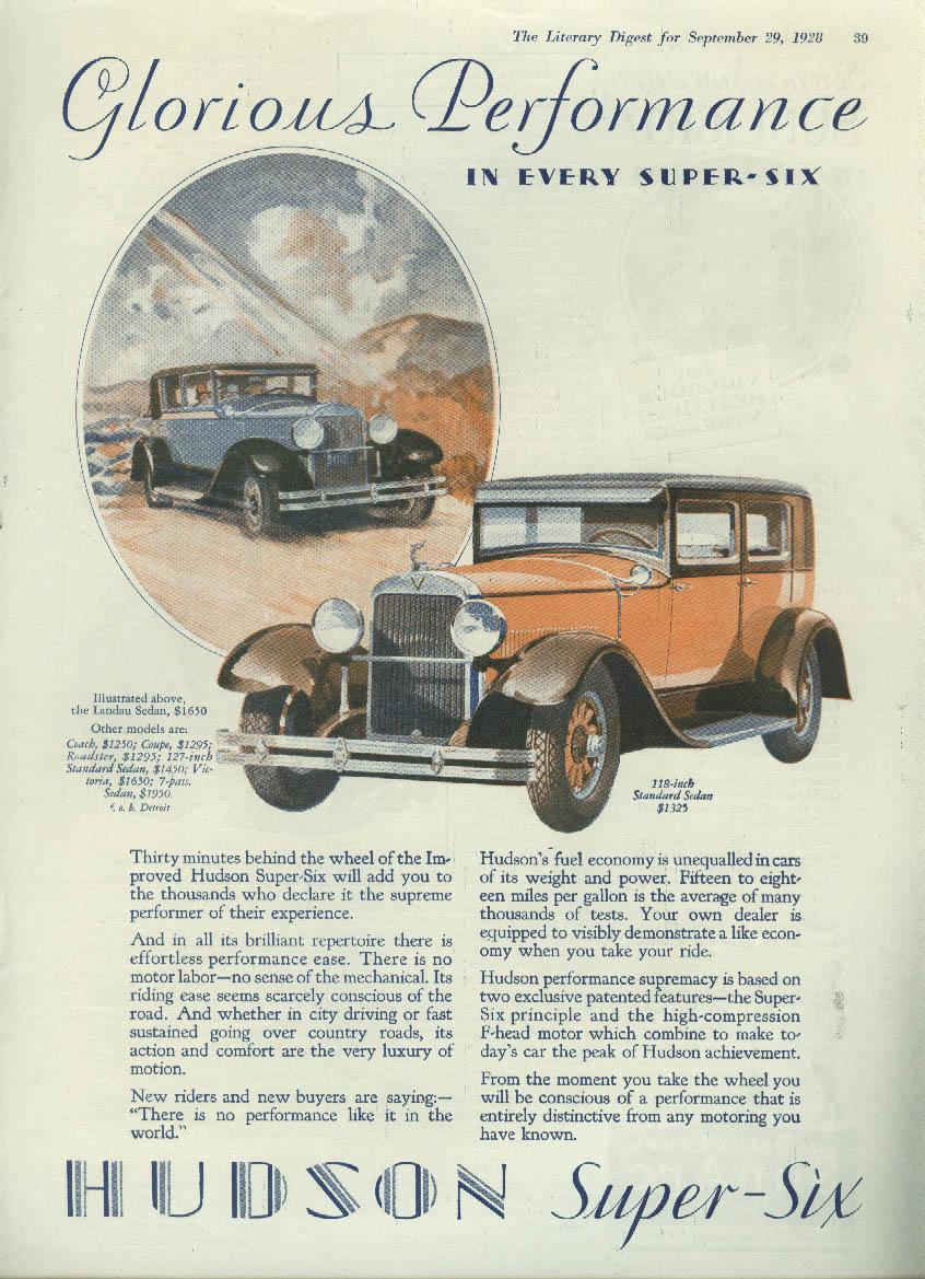 Glorious Performance Hudson Super Six Sedan ad 1928 LD
