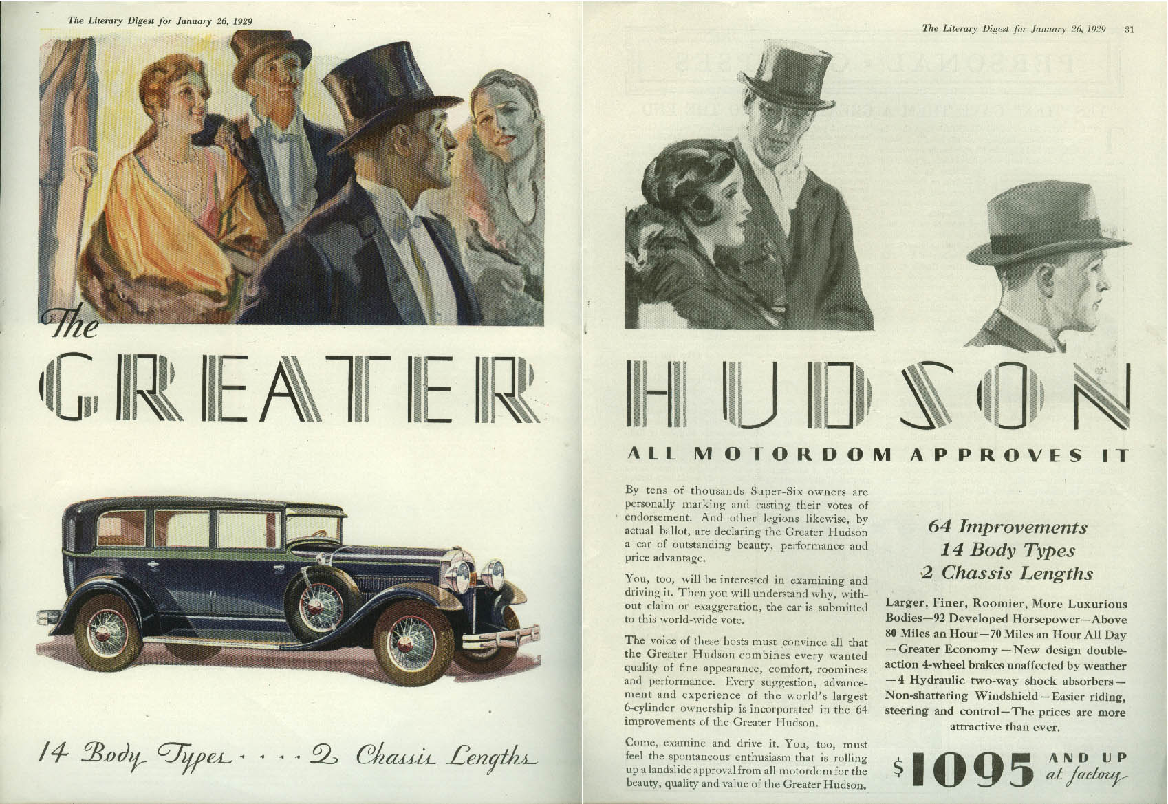 All Motordom Approves It Greater Hudson ad 1929 LD formal night out
