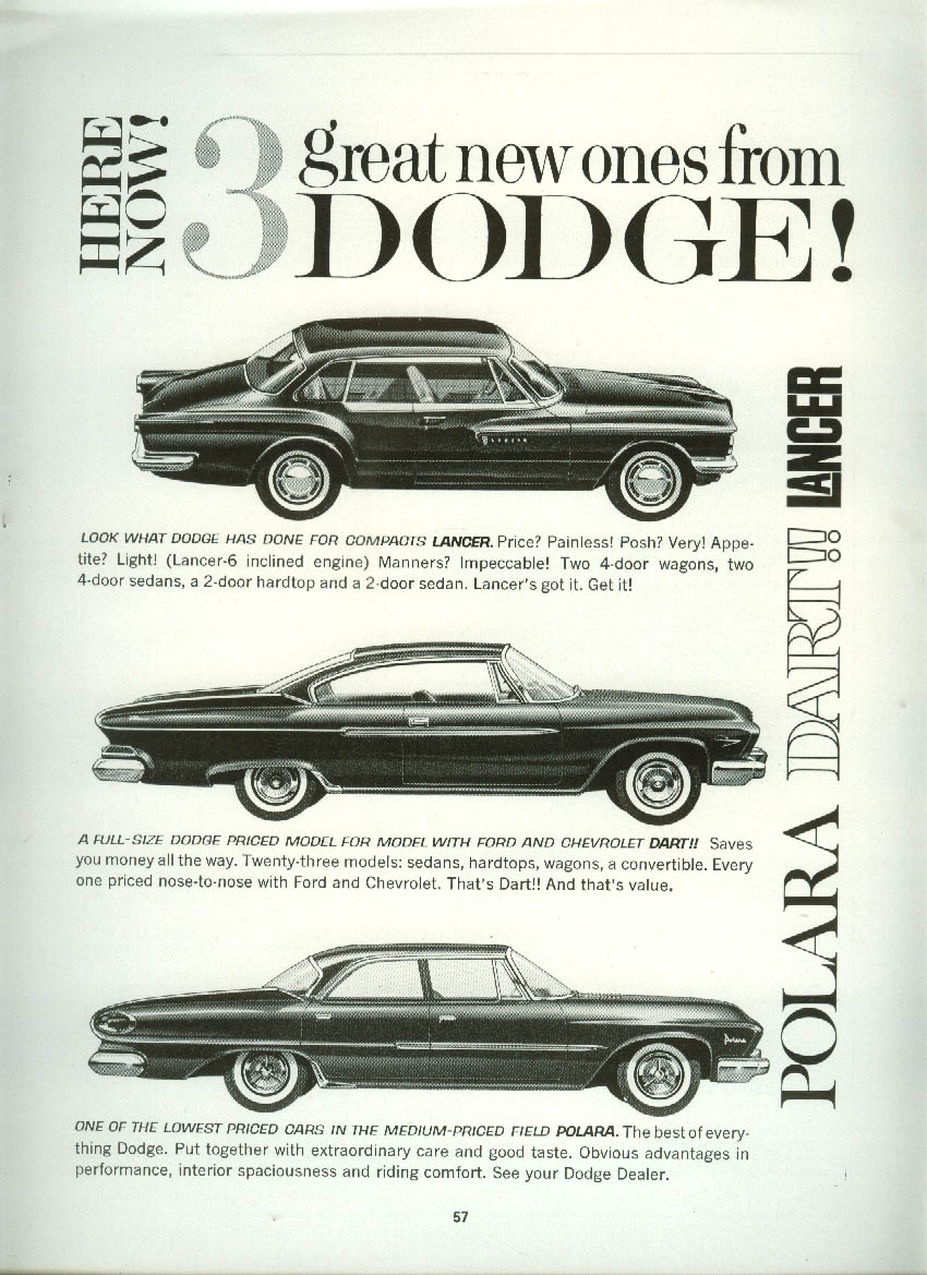 3 Great New Ones from Dodge! Lancer Dart & Polara ad 1961