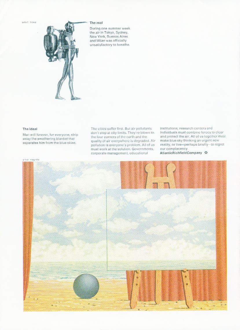Atlantic Richfield The real The ideal Trova robot Magritte ad 1972