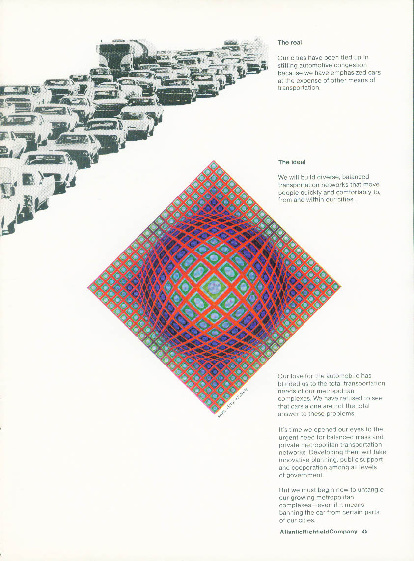 Atlantic Richfield The real The ideal traffic jam Vcictor Vasarely ad1972