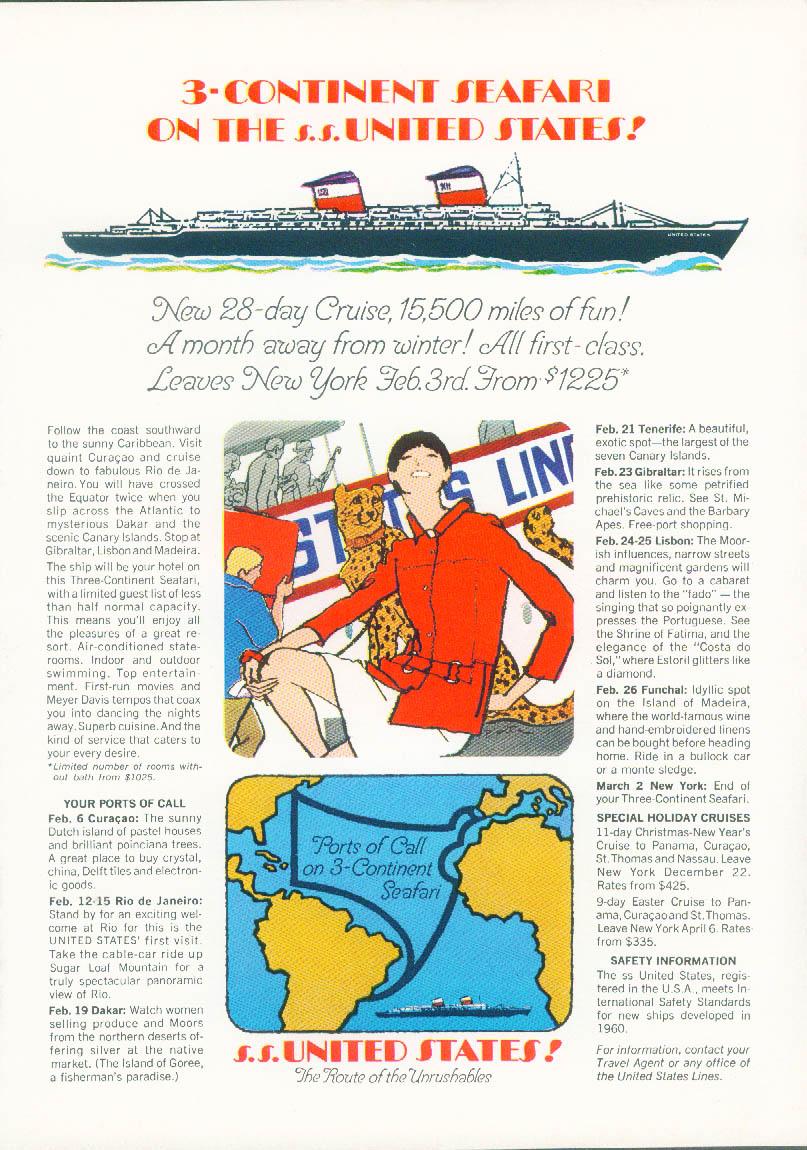 3-Continent Safari on the S S United States ad 1967