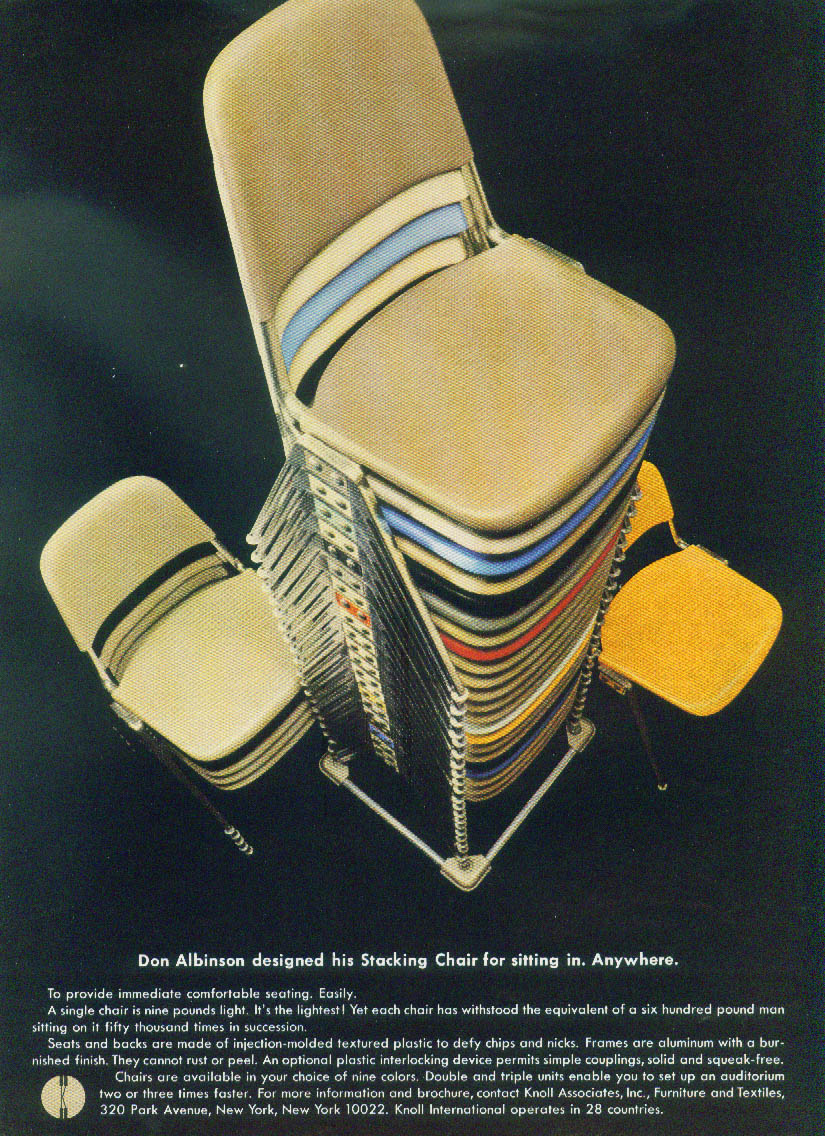 Don Albinson designed his Stacking Chair for sitting anywhere Knoll ad 1967
