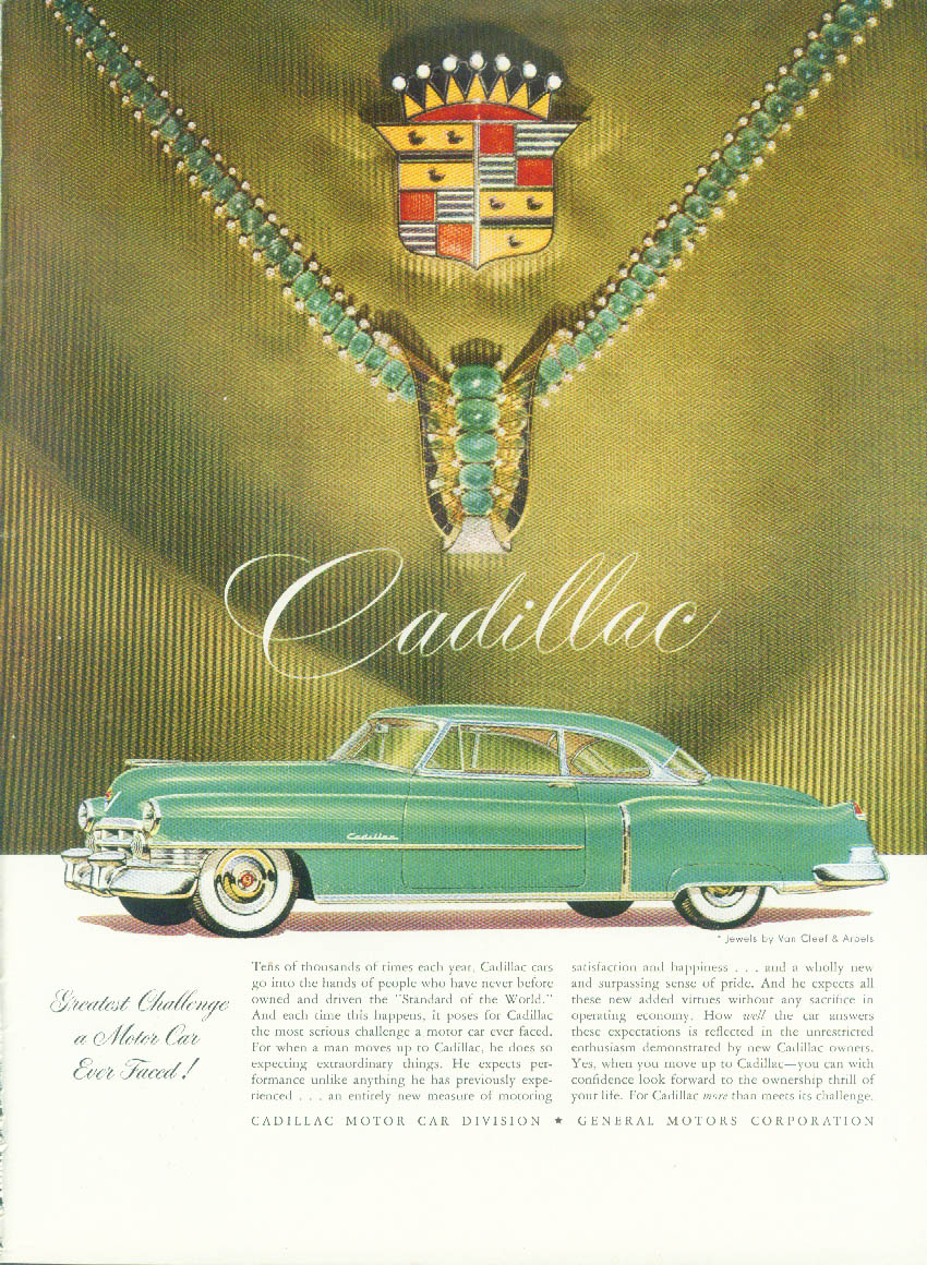 Greatest Challenge a Motor Car Ever Faced! Cadillac Coupe ad 1950 NY